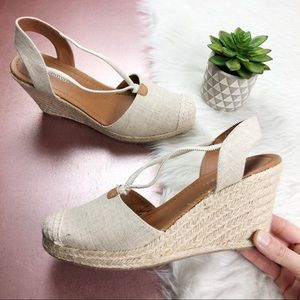 Cityclassified Tan Fabric Wedges Shoes